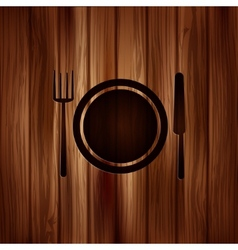 Plate web icon Wooden background vector image