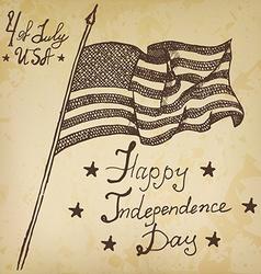 Usa waving flag American symbol forth of july Hand vector image