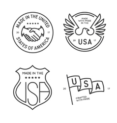 Made in usa labels badges stamps set vector image vector image