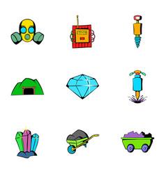 mine equipment icons set cartoon style vector image
