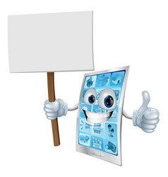mobile phone mascot holding sign vector image vector image