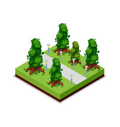 park road and trees isometric 3d icon vector image