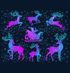 reindeer christmas icon set vector image