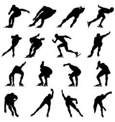 skating man silhouette set vector image vector image