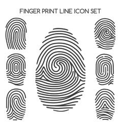 Fingerprint line icons vector