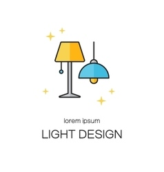 Lighting desigh line icon logo templates vector image