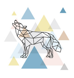 Silhouette of a geometric wolf side view vector