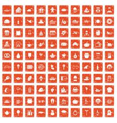 100 bounty icons set grunge orange vector