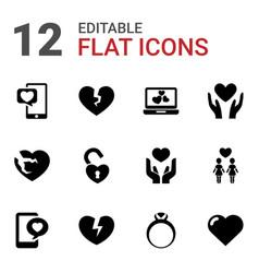 12 valentine icons vector