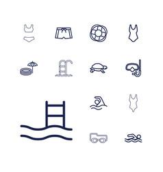 13 swim icons vector