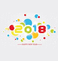 2018 happy new year simple writing multicolour vector
