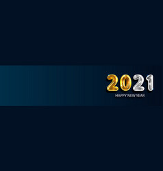 2021 happy new year banner golden luxury text vector image