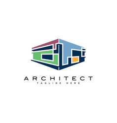 Abstract building logo design templatemodern arch vector