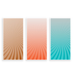 abstract colors rays sunburst banners set vector image
