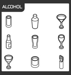 alcohol outline isometric icons vector image