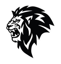 Angry lion head roaring logo mascot vector