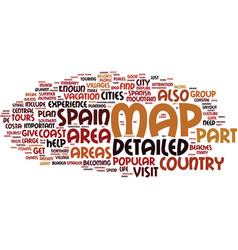 Areas on a detailed map of spain text background vector