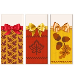 Autumn Knitted Banners Set 1 vector
