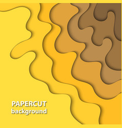 background with yellow gradient color paper cut vector image