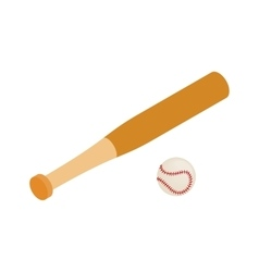 Baseball bat and baseball isometric 3d icon vector image