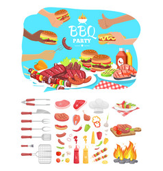 Bbq party poster with icons vector