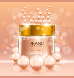 Beauty cream with pearls and bubbles on peach vector