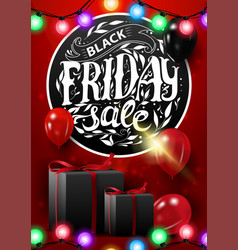 black friday sale vertical discount red banner vector image