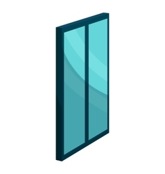 Blue glass door icon cartoon style vector