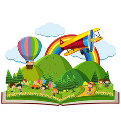 book of children playing in park vector image