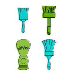 brush icon set color outline style vector image