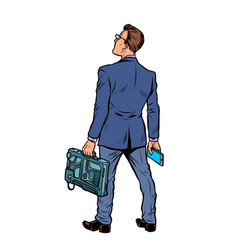 businessman with briefcase and phone isolate on vector image