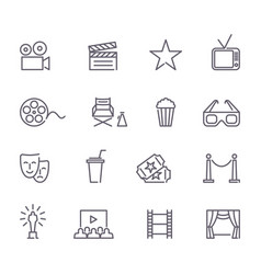 cinema line icons vector image