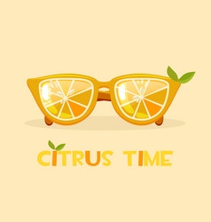 citrus orange glasses hello summer time vector image