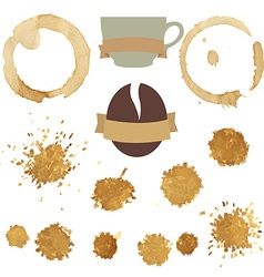 Coffee Stains With Symbol Set vector image