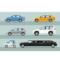 Collection of Passenger Cars Flat Style vector