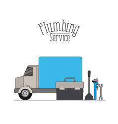 color poster of vehicle car plumbing service vector image
