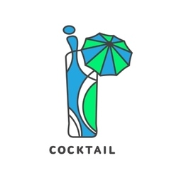 colorful abstract cocktail logo vector image