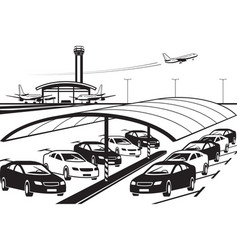 covered parking at airport vector image vector image