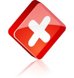 Cross button vector image