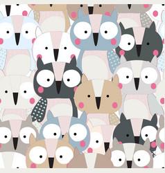 cute baby owl bird seamless pattern vector image