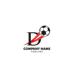 d letter logo football ball logo design vector image