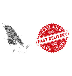 Delivery mosaic koh chang map with textured fast vector