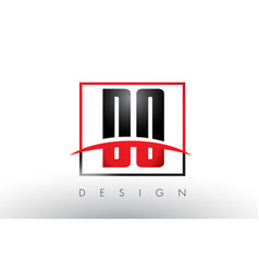 do d o logo letters with red and black colors and vector image