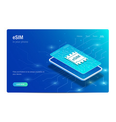 esim card chip sign embedded sim concept new vector image