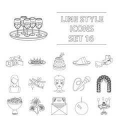 Event service set icons in outline style big vector