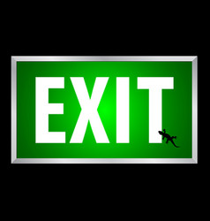 exit white text on green background lightbox vector image