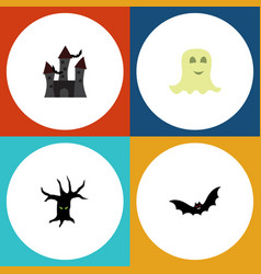 flat icon festival set of fortress terrible vector image