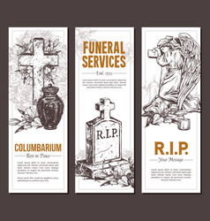 funeral service sketch banners vector image
