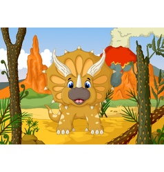 funny Triceratops cartoon with volcano vector image
