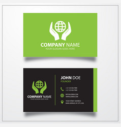Globe in hand icon business card template vector